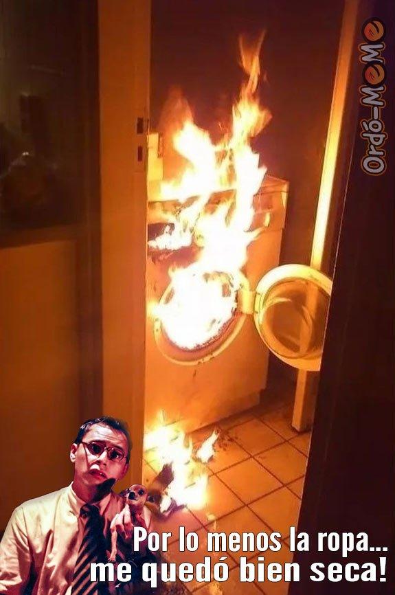 Lavadora incendiada