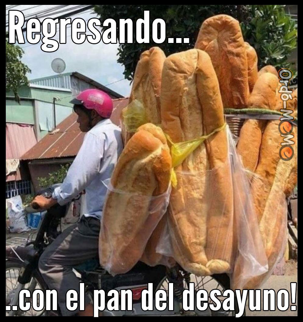 Meme regresando pan desayuno