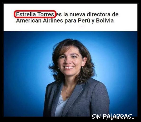 Noticia Meme: Estrella Torres nueva directora de American Airlines en Perú