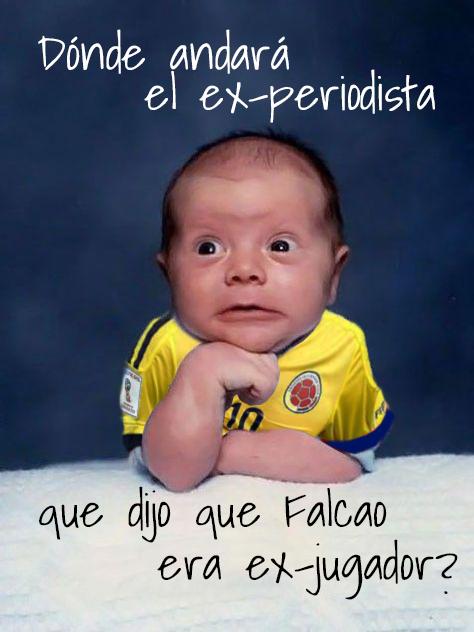 Meme fútbol referente al periodista que llamó a Falcao exfutbolista